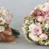 Прекрасни розеви невестински букети
