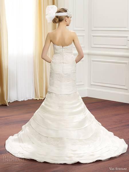 val-stefani-fall-2014-strapless-mermaid-wedding-dress-tiered-skirt-d8078-back-view-train