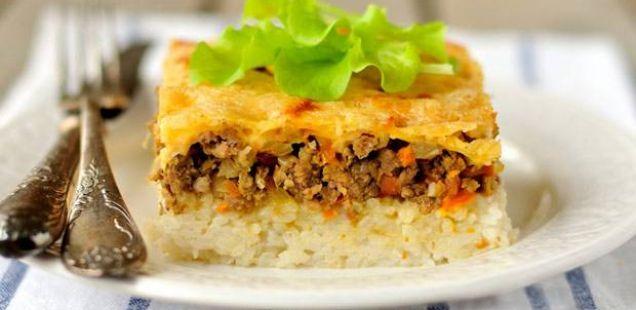 Тава со ориз и мелено месо