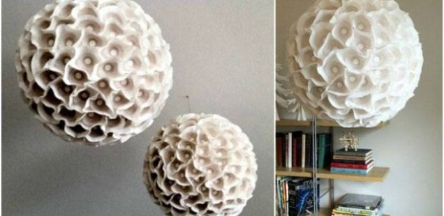 Направи сам: декоративен лустер од хартиени корпички